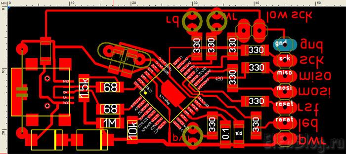 Программатор-для-AVR-usb.(AVR910)_Programmator-dlja-AVR-usb.(AVR910)_Плата