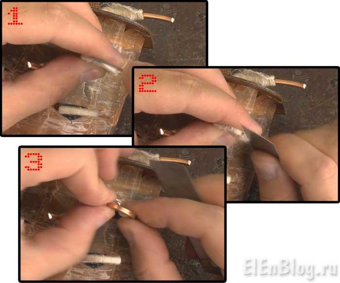 Как-намотать-трансформаторВторичная-обмотка-75В,-12А.(Расчёт-и-перемотка-трансформатора-#4.3)_Удаляем-тряпичную-изоляцию