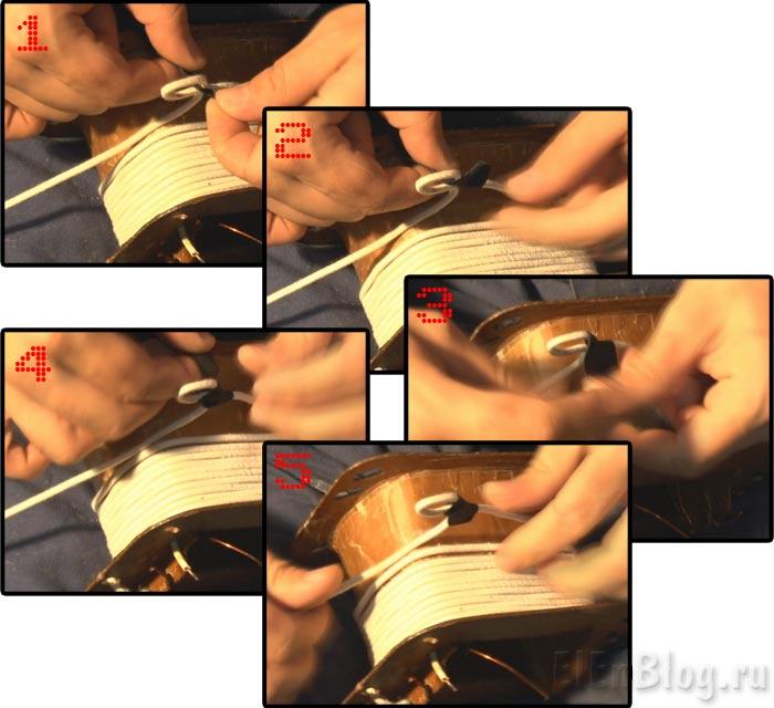 Как-намотать-трансформаторВторичная-обмотка-75В,-12А.(Расчёт-и-перемотка-трансформатора-#4.3)_Фиксация-отвода