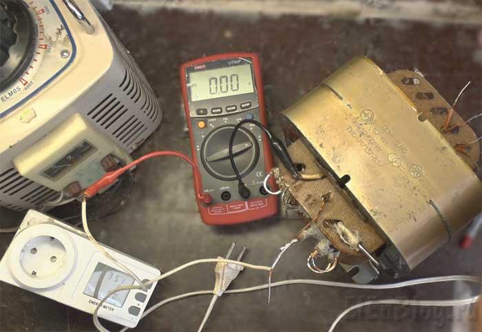 Проверка-перемотанного-трансформатора(Расчёт-и-перемотка-трансформатора-#6)_подключение-трансформатора-для-проверки