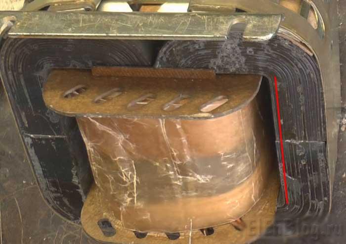 Сборка-перемотанного-трансформатора-(Расчёт-и-перемотка-трансформатора-#5)_Смешение-половинок-железа