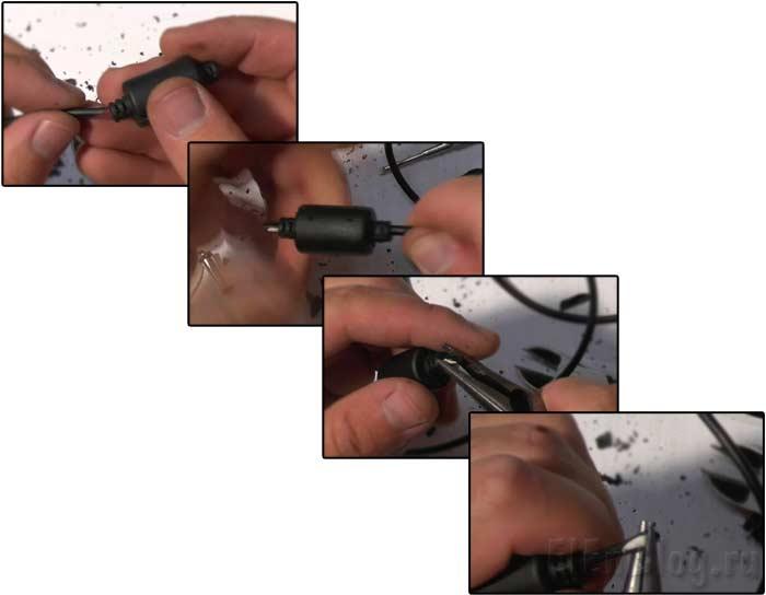Ремонт-штекера-питания-ноутбука_Продеваем-кабель-сквозь-фильтр