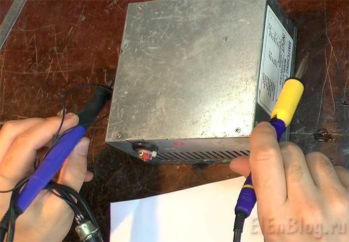 Паяльная-станция-для-hakko-t12_паяльники-на-корпусе-компьютерного-блока-питания.