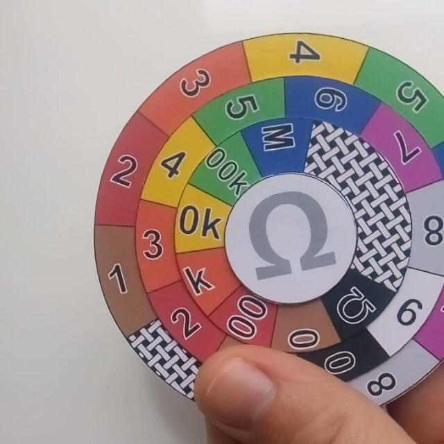 Готовый калькулятор сопротивлений по цветным полоскам, раскрой отпечатан на цветном принтере