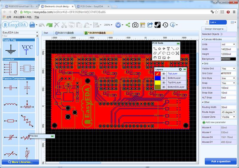 Kak sdelat' LED Begushhuju Stroku na Arduino v EasyEDA6